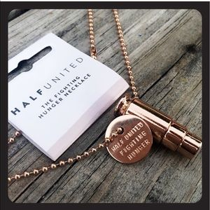 Half United Jewelry - Fighting Hunger Charity Bullet Necklace Rose Gold