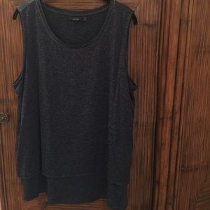 Apt.9 Navy Dressy Tank with Layered Split Back 1X