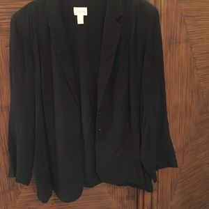 Chico's Size 3 Black Thin Lightweight Snap Blazer