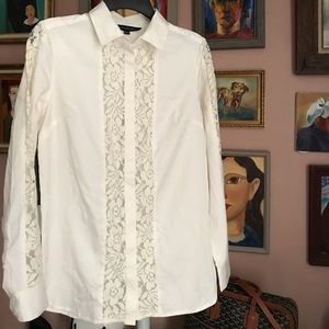 French Connection Tops - French Connection Lace Button Down