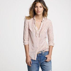 J. Crew Tops - J Crew Ruffle Front Vine Perfect Blush Silk Shirt