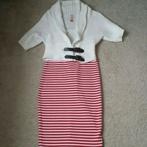 Poof! Dresses & Skirts - Red and white pencil skirt size M