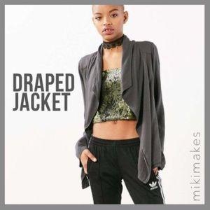  SILENCE + NOISE • draped grey blazer jacket