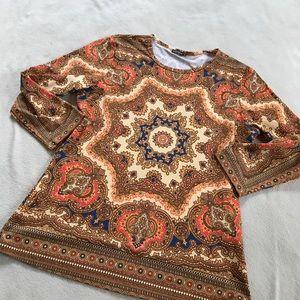 J. McLaughlin Tops - J. McLaughlin Orange Pattern Dressy Blouse