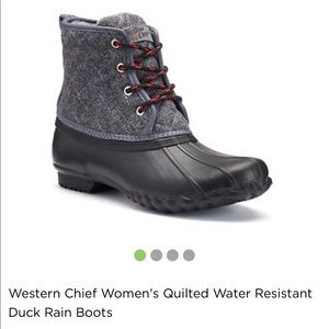 Western Chief Shoes - Buffalo plaid gray wool duck boots
