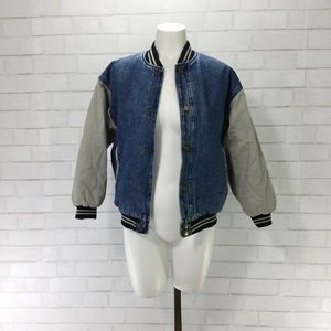 Vintage 90's Varsity Sport Denim Bomber Jacket