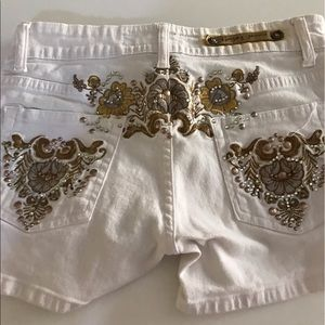 Pants - Bedazzled White Shorts