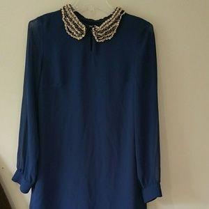 Alice & You Dresses & Skirts - Sheer blue shift dress with embellished collar