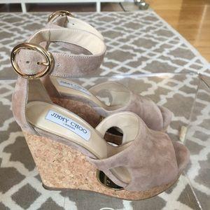 Jimmy Choo Shoes - Jimmy Choo Suede/Cork Wedge Sandal
