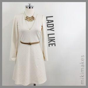 [ cooperative ] NWT cream jacquard A-line dress