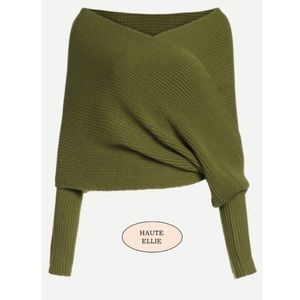 Haute Ellie Sweaters - 🆕 Kiwi Green Wrap Crop Sweater