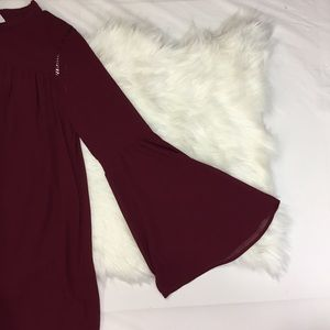 Love Riche Dresses & Skirts - Plum burgundy Lace Tunic with Bell Sleeves Dress