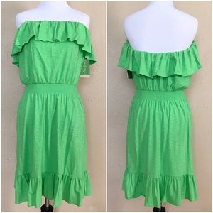 Lilly Pulitzer Dresses & Skirts - Lilly Pulitzer Green Strapless Ruffle Vinita Dress
