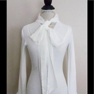 Cabi white tie sheer blouse with bell cuff sleeves
