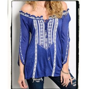 Tops - New BOHEMIAN Off Shoulder Peasant Top