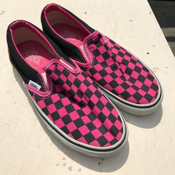 pink and white checkered vans kids