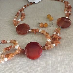 Jewelry - NATURAL Red agate & pearl gemstone necklace set