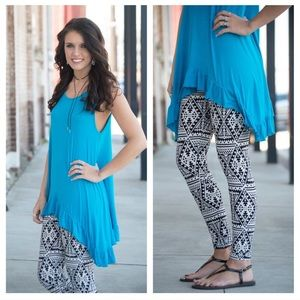 Infinity Raine Pants - Black and White Aztec Print Leggings
