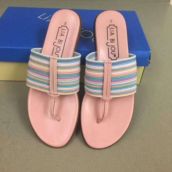 Lia bijou pink flip flops f78f5a67b227