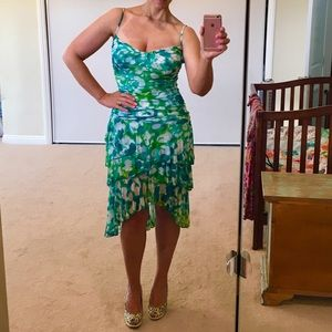 Diane von Furstenberg Dresses & Skirts - DVF Aqua and Green Silk Cocktail Dress -sz 8