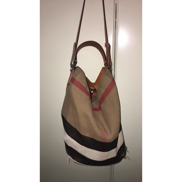 4fd0786ca283e6 Burberry Handbags - Burberry Medium Ashby Check Print Bucket Bag