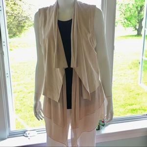 NEW VAKKO INC designer vest jacket camel brown tan
