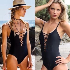 Other - 🎀 Black Lace Up Monokini ⛱🌺