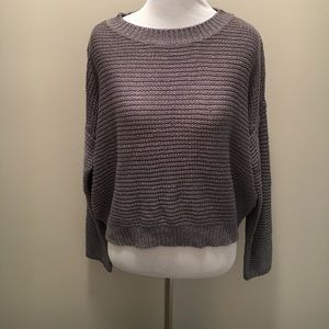 RD Style Gray Open Stitch Crop Sweater