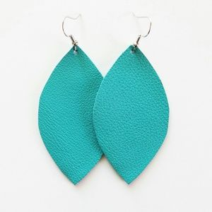 Jewelry - NWT Turquoise Leather Leaf Earrings