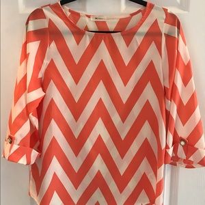 Everly Orange and White Chevron Blouse
