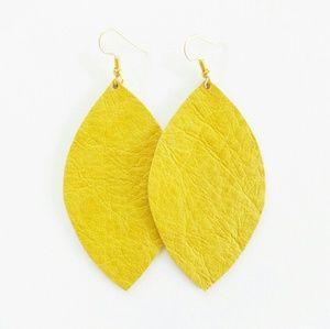 Jewelry - NWT Mustard Leather Leaf Earrings
