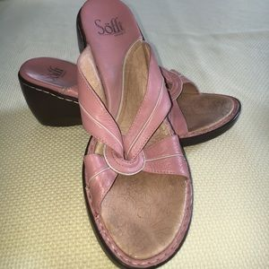 Sofft Pink Wedge Sandals