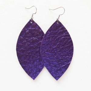 Jewelry - NWT Metallic Purple Leather Leaf Earrings