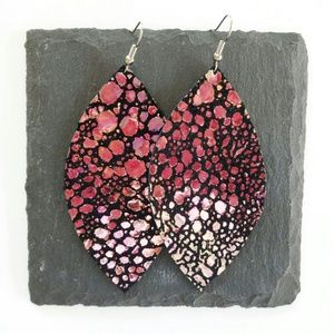 Jewelry - NWT Mermaid Leather Leaf Earrings