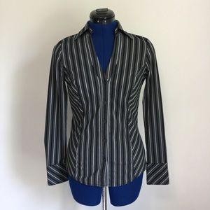 Express V-Neck Striped Button Down Shirt XS  🆕