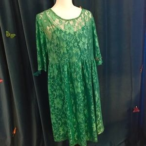 Momo Maternity Dresses & Skirts - MOMO MATERNITY Elizabeth Sheer Green Lace Dress L