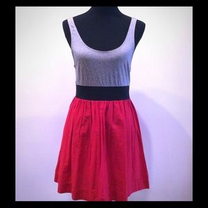 Theory Cotton Tank Dress W/ Gray Top & Red Skirt