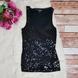Black Express Sequined Front Tank