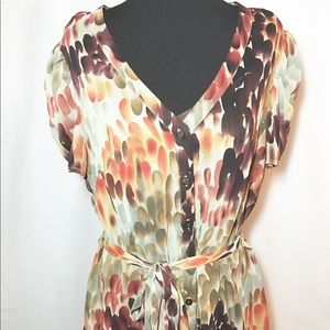 AGB Tops - Brown Multi Print Short Sleeve Buttonup 2pc Blouse