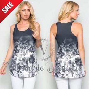 LAST 2- Dark Grey ROSE TANK TOP