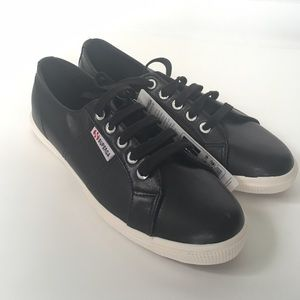 Superga Shoes - NWT Superga Vegan Leather Black Fantasia Sneakers