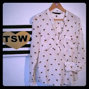 ZARA WOMAN Dog print semi blouse Rhinestones SMALL