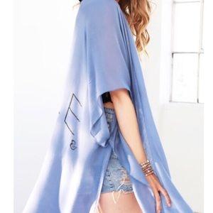 Boho kimono/blue/tassels/oversized