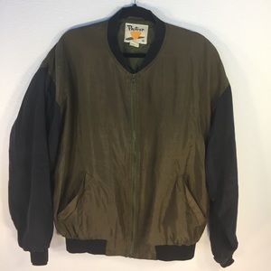 Vintage Other - 100% Silk Olive Green Bomber Jacket - Sz M
