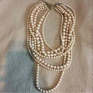 7 strand multilayered faux pearls