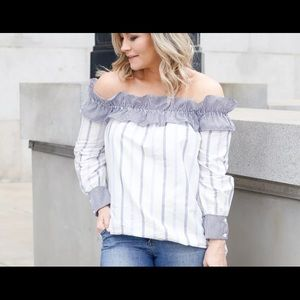English Factory Tops - English Factory Off the Shoulder Blouse
