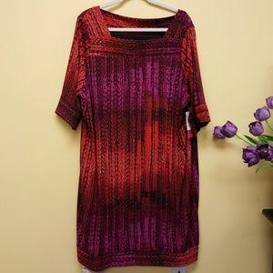 Melissa Masse Dresses & Skirts - Melissa Masse red purple boat neck sheath dress NW