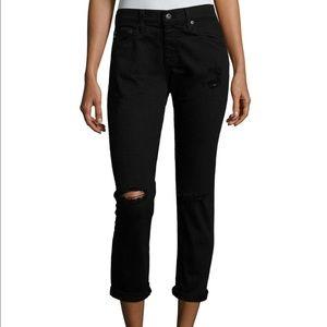 AG Adriano Goldschmied Denim - AG jeans EX BF slim in distressed black
