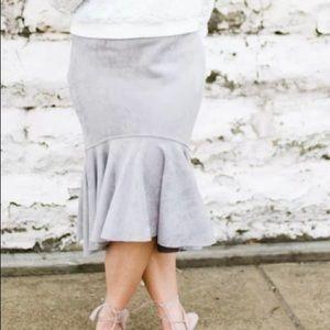 Chicwish Dresses & Skirts - Grey peplum pencil skirt - soft faux suede like