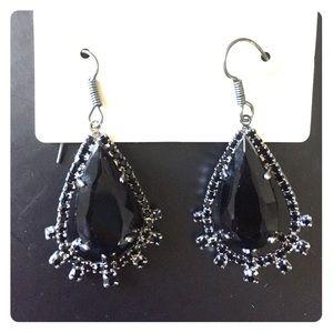Earrings: Drops w/ black faux stone & rhinestones